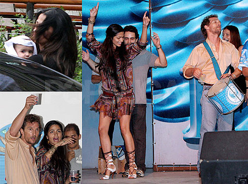 Photos of Matthew McConaughey, Playing Bongos, and Camila Alves in Brazil with Son Levi