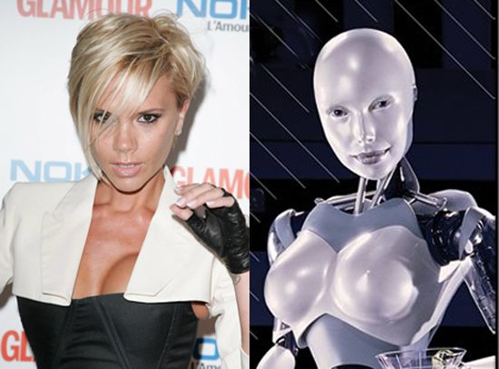 "Victoria ""Posh"" Beckham and the Svedka Robot Lady"