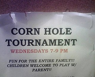 Corn Hole Tournament Sign Says It's Fun for the Entire Family