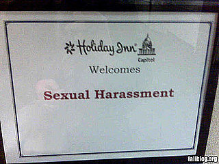 Holiday Inn Sexual Harassment Sign
