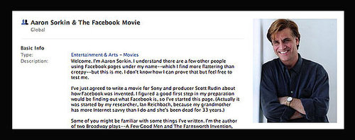 Aaron Sorkin Joins Facebook to Write Facebook Movie