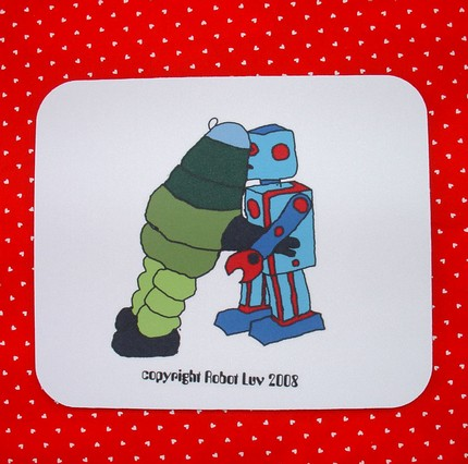Awww: Robot Love Mousepad