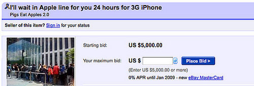 eBay Seller Selling Place in Line for iPhone 3G