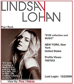 Lindsay Lohan Blogs on MySpace About Facebook
