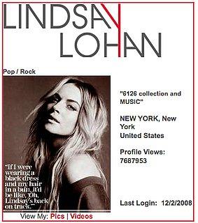 Lindsay Lohan Blogs on MySpace About Facebook