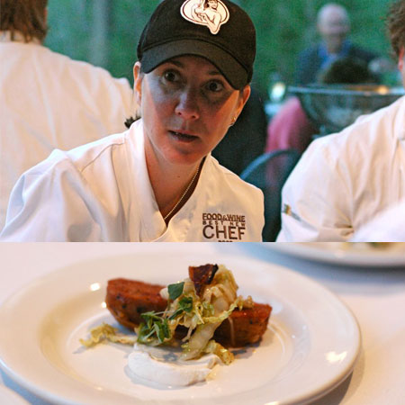 Koren Grieveson from Avec in Chicago presented a house-made smoked pork sausage with napa cabbage, paprika, and bacon salad.  Two kinds of pork? Consider it two kinds of delicious.