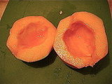 To get rid of every last seed, rinse the inside of the cantaloupe, then pat it dry.