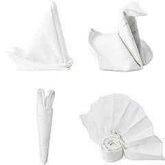 Видео по складыванию салфетки в форме лебедя.  Можно складывать салфетку из ткани или обычную бумажную.