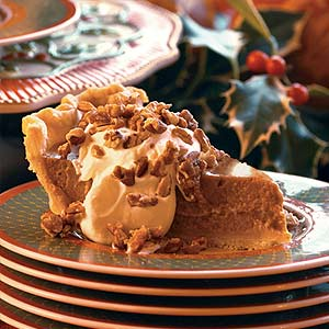 Pumpkin Pie With Maple Cream and Sugared Pecans