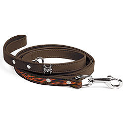 Brown Leather Leash with Orange Tribal