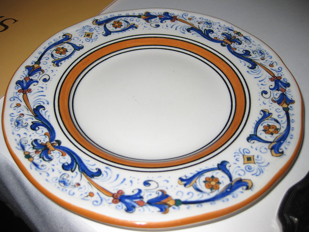 A beautiful porcelain plate at Scala's Bistro.