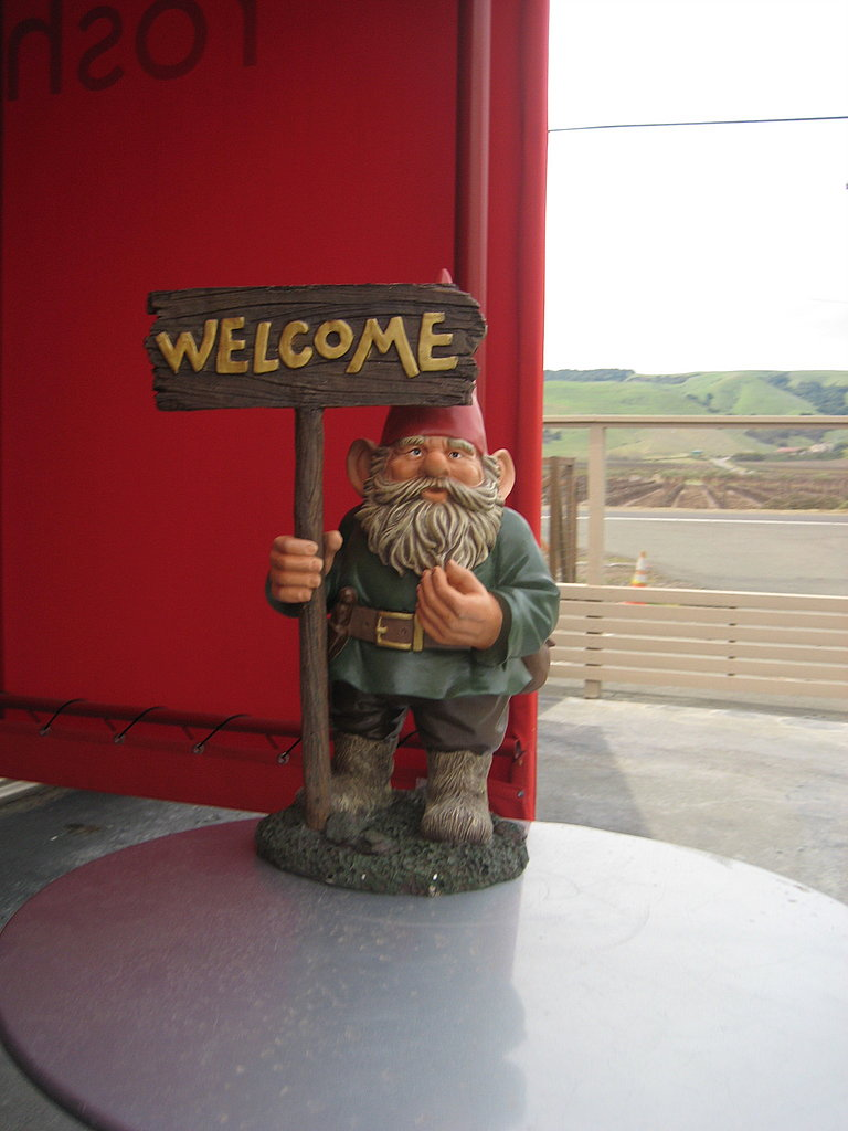 The tasting room's look is a mix of eclectic pieces, pop art, and random objects like this garden gnome who greets tasters.