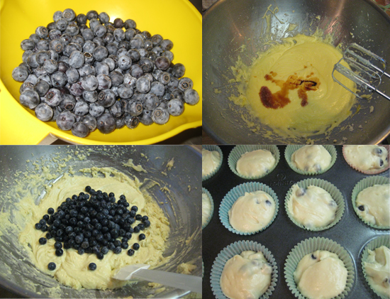 Once you have determined the menu, get cooking!  Start by making the blueberry muffins. These can be baked the night before and kept at room temperature in a sealed container.
