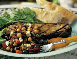 Fast & Easy Dinner: Eggplant Steak With Chickpeas