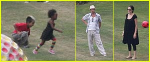 Spotted: Angelina, Brad, and the (older) children playing outside!