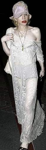 Ghoulish Courtney Love reveals her skeletal frame in a see-through 1920s dress
