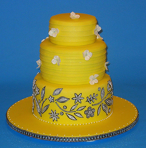 Yellow Dress Cake with Silver and Black Embroidery