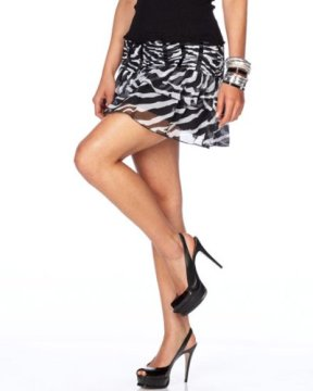 Ruched & Ruffled Zebra Mini Skirt