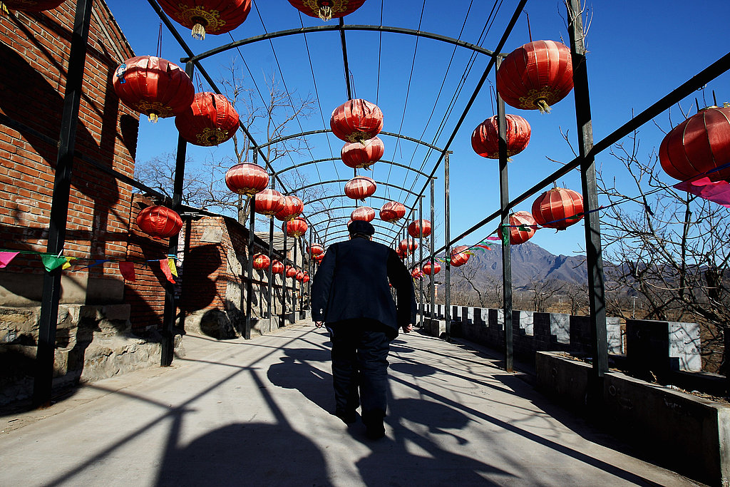 Red Lanterns Hang in a Village on the Outskirts of Beijing