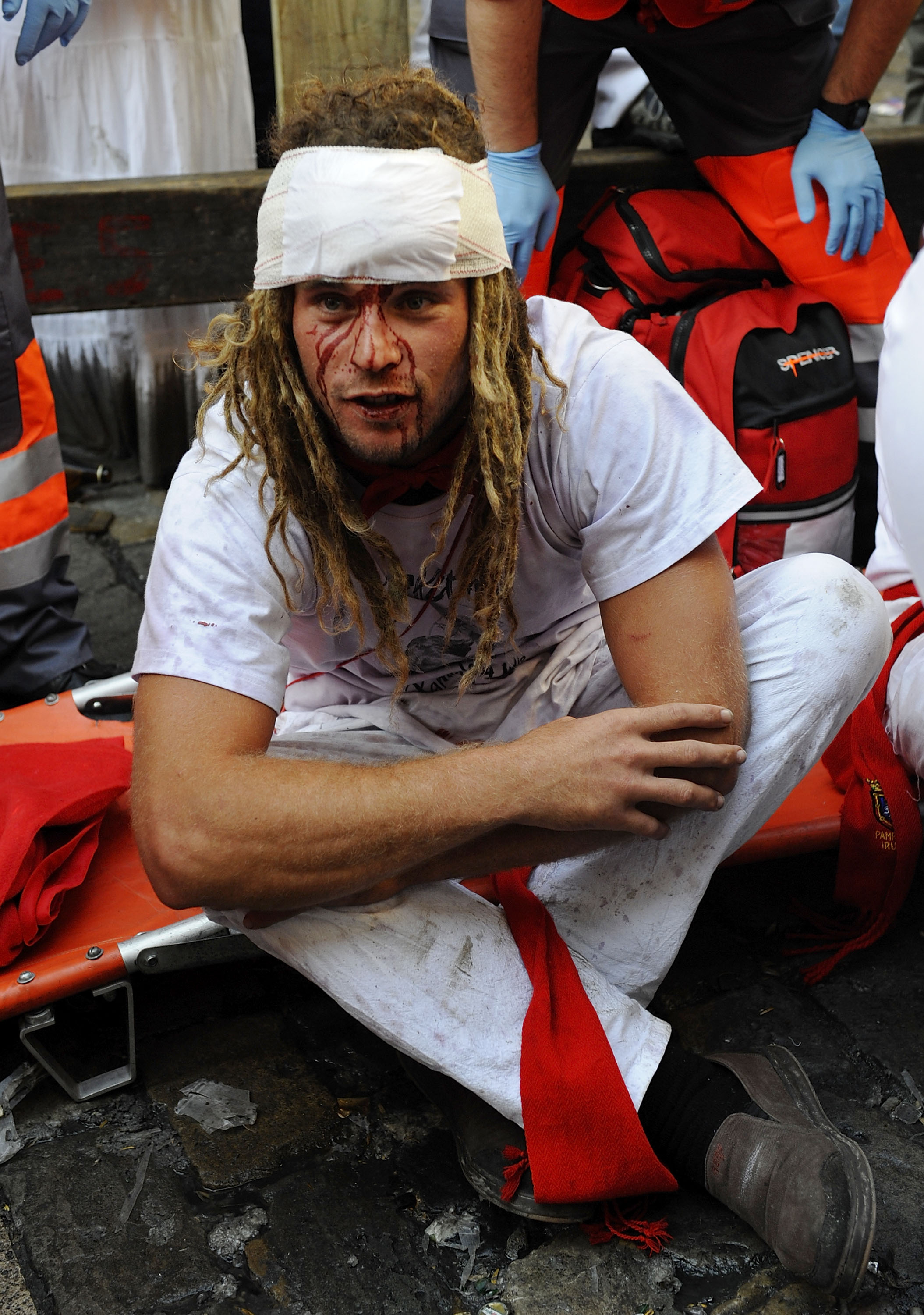 New Zealand participant is helped by the Red Cross.