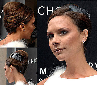 Victoria Beckham Wears a Hair Updo at Her Fragrance Launch in Manchester