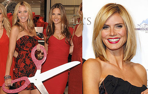Heidi Klum's Haircut at Victoria Secret's Lexington Avenue Flagship Store Opening