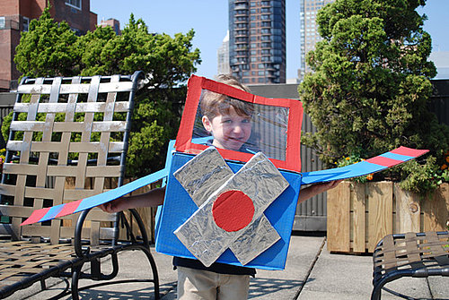 Ecoween: Cardboard Box Airplane Costume