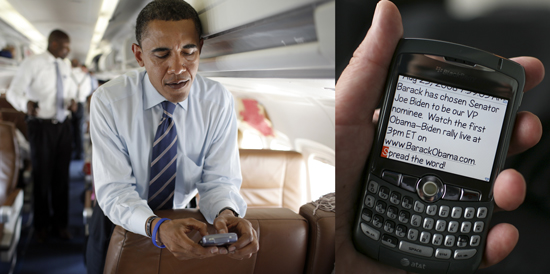 Obama Sent Out Running Mate Text