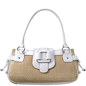 White and tan satchel