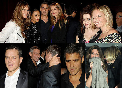 George Clooney Parties In London With Matt Damon, Thandie Newton And Others.