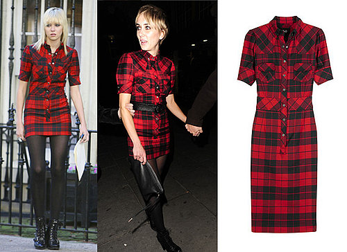 Taylor Momsen, Kimberly Stewart, Plaid Tartan Shirt Dress, D&G