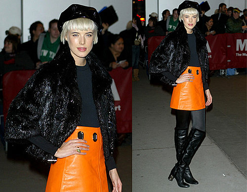 Agyness Deyn in Orange Skirt at MoMa Benefit in New York