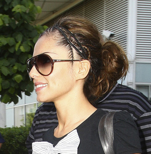 Cheryl Cole's birthday, get her hair look  - messy pony tail with plaits