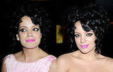 Photos of Lily Allen at GQ 20th Anniversary Party. Bright Pink Lipstick and Hollywood Curls.