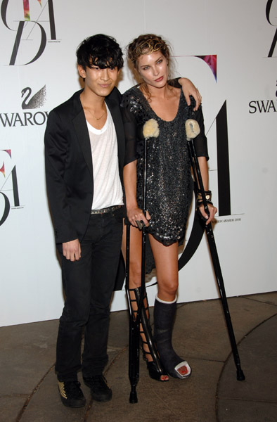 Alexander Wang and Erin Wasson, in his design.