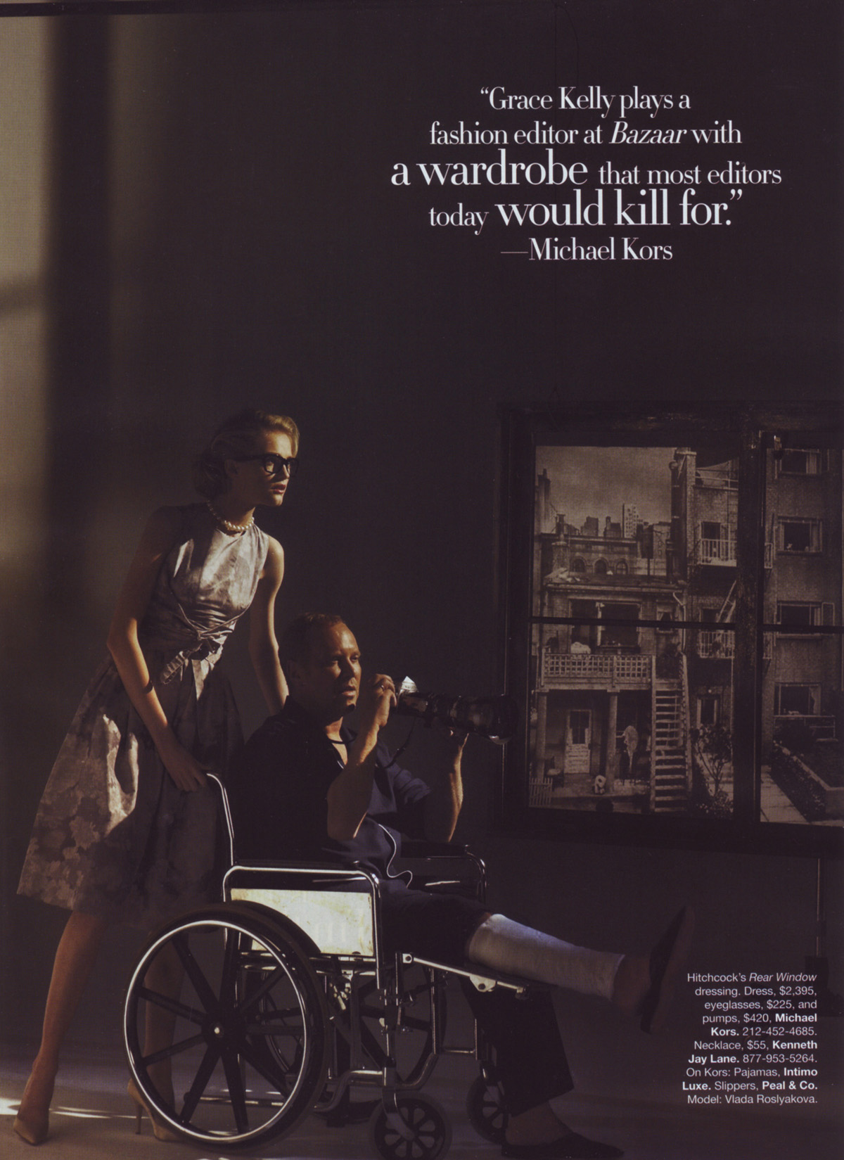 Vlada Roslyakova as Grace Kelly and Michael Kors as Jimmy Stewart in <i>Rear Window</i>.