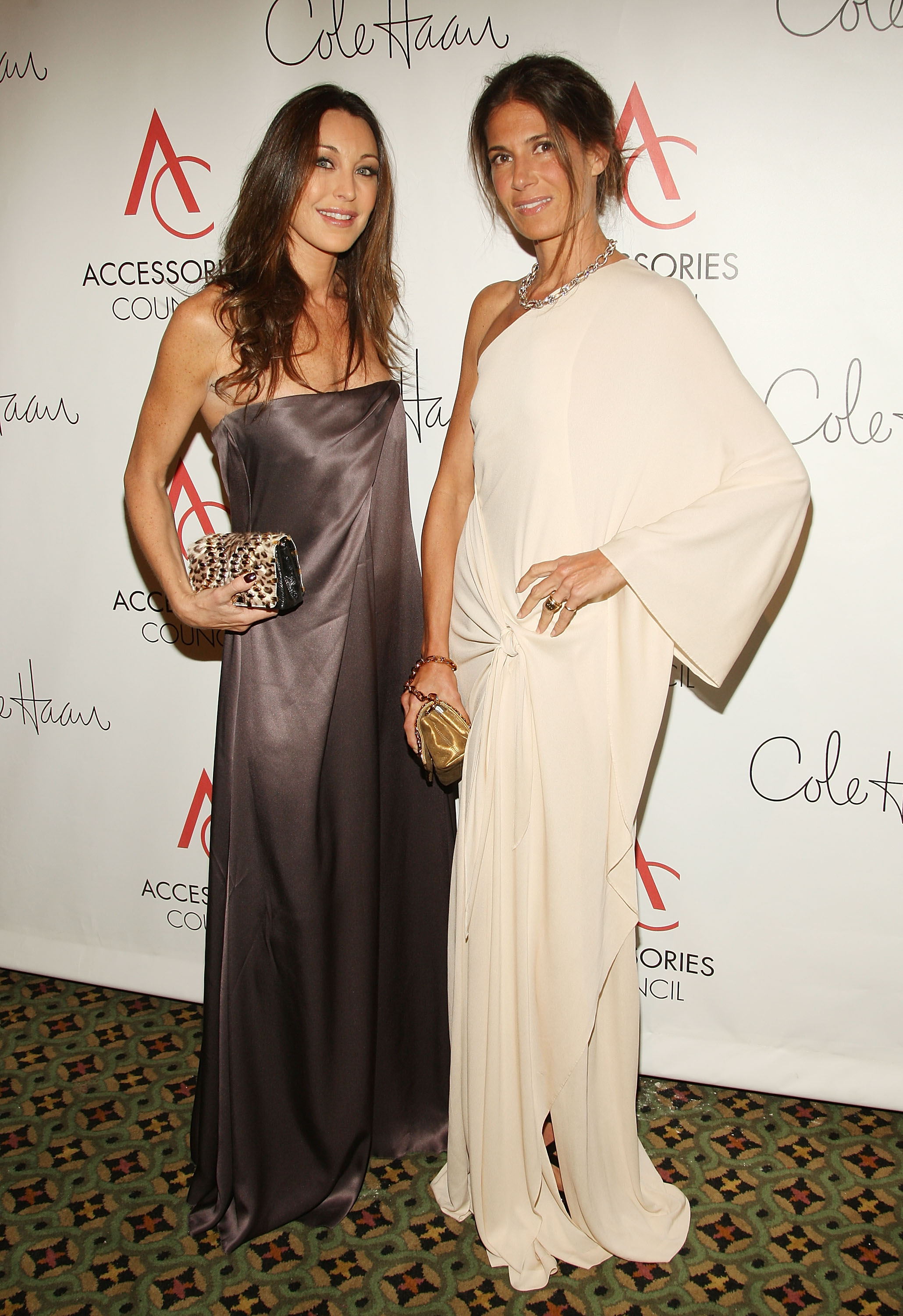 Tamara Mellon and Vanity Fair's Elizabeth Saltzman Walker, both in Halston.