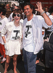 July 1990: Wearing a t-shirt and having a grand old time at 7th On Sale with Patrick Demarchelier.