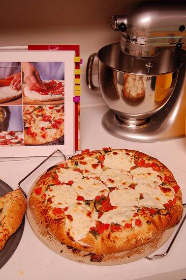 Pizza Margherita.  Recipe from: Williams-Sonoma Essentials of Baking