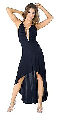 ROYCE Black Long Halter Dress w/ Rhinestone Amulet