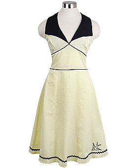 Retro Yellow Sparrow Halter Dress by Rock Steady ($68)