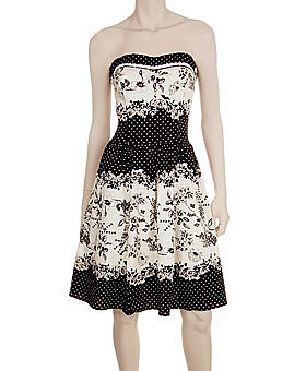 Black &amp; Ivory Polka Dot Floral Strapless Dress ($49)