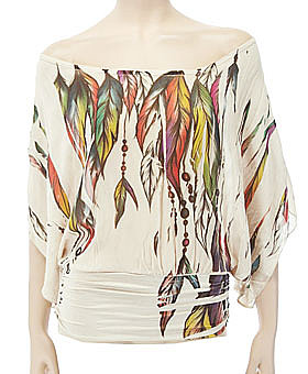 Bohemian Feather Print Chiffon Top ($34)