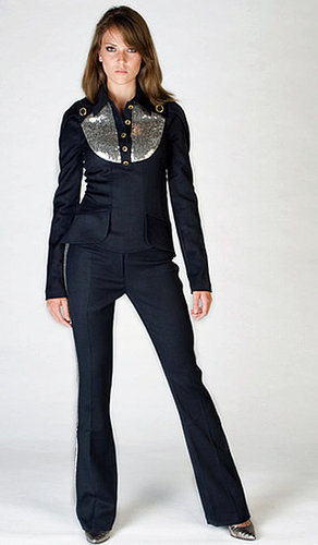 Sequins top & wool tuxedo pants
