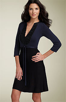 BCBGMAXAZRIA Ruffle Trim Sweater Dress -  - Nordstrom