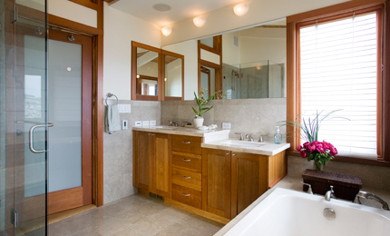 The unique two-level vanity enables kids and parents to comfortably use the bathroom together.