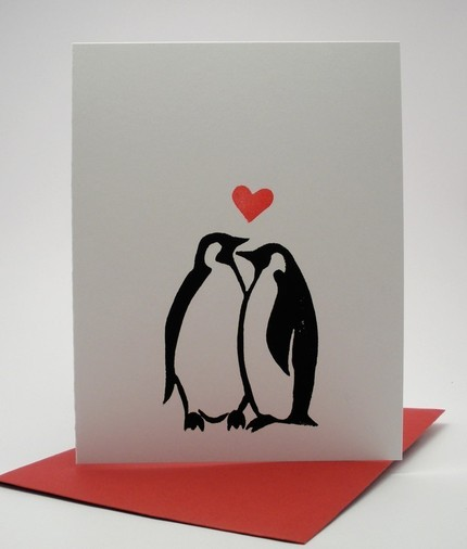 Black and white and full with love, the Penguins Card ($3.50) gets the message across without any words.