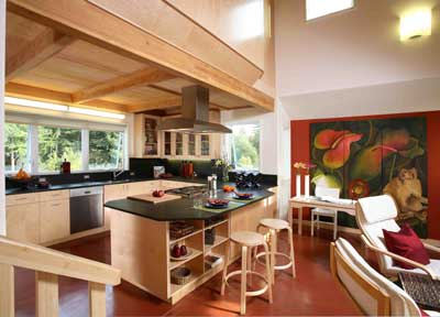 The large kitchen features custom, sustainably built cabinetry and breathable no-VOC clay paint.