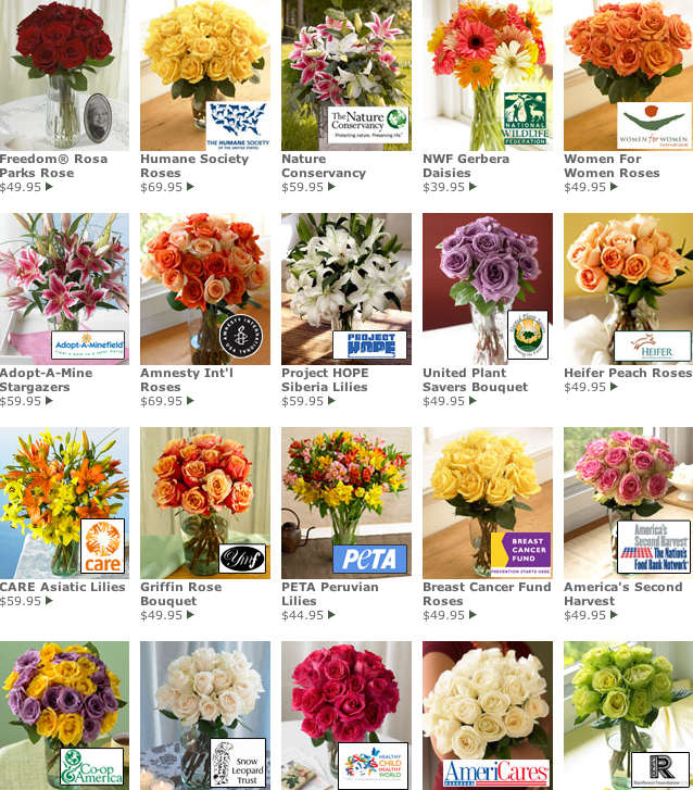 Mother's Day is May 11th. Delight your lovely mom with a bouquet of organic charity blooms (prices vary). Each bouquet benefits a different nonprofit charity.
