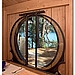 The dining-room doors, with their circular frames, echoes traditional Japanese farmhouses.